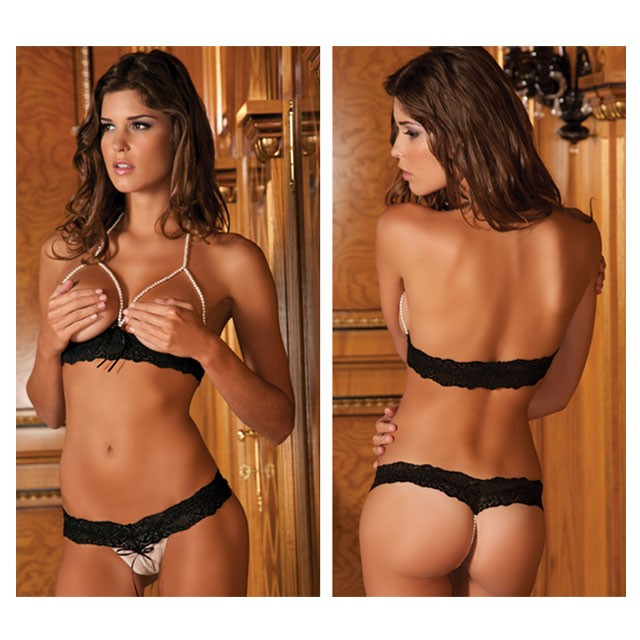 2pc Pearl Necklace Bra & G-String Set M/L