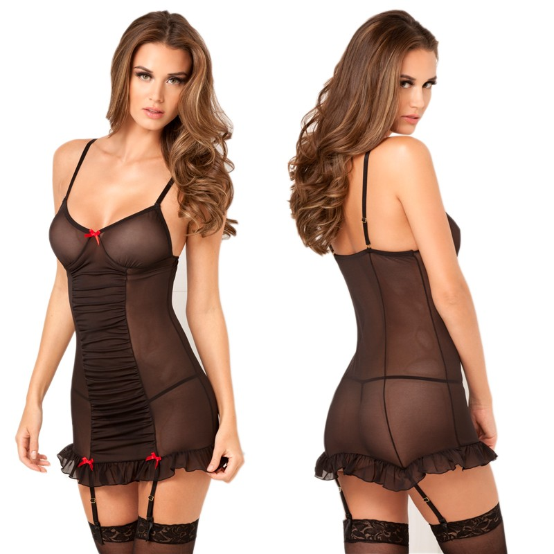 2pc Ruched Up Garter Chemise & G-String M/L