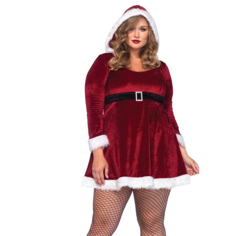 2pc Sexy Santa,Fur Trimmed Velvet Hooded Dress W/Buckle 3X-4X Red/White