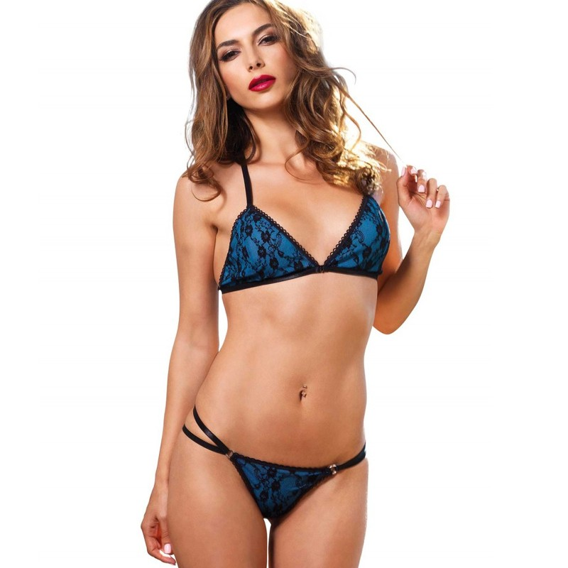 2pc Strappy Bikini Bra Top,Brazilian Strappy Panty Sml/Med Black/Blue