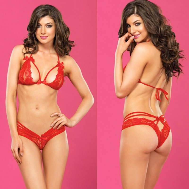 2pc Strappy Lace Halter Bra Top,Peek-A-Boo Brazilian Panty Med/Lge Red