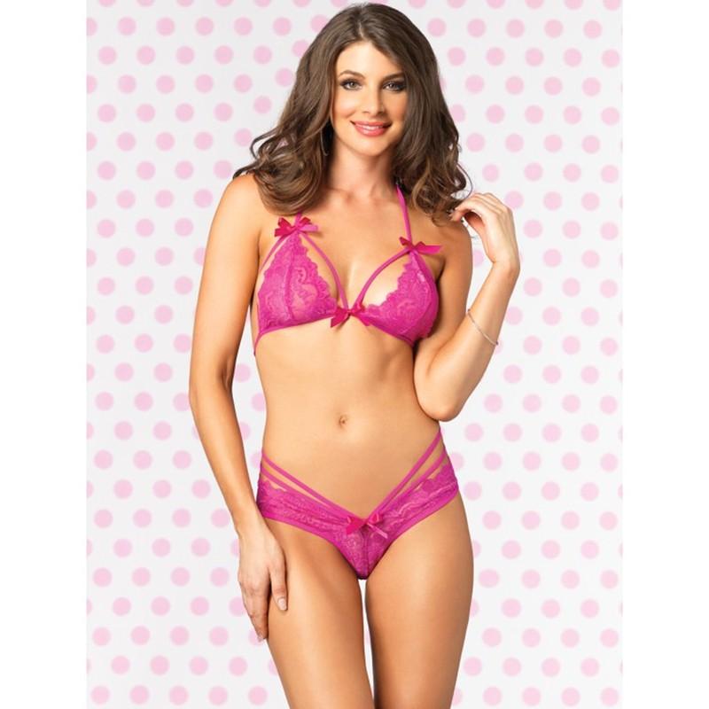 2pc Strappy Lace Halter Bra Top,Peek-A-Boo Brazilian Panty Sml/Med Neon Pink