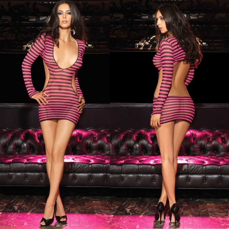 2pc Striped Fishnet Mini Dress w/G-String O/S Black/Pink