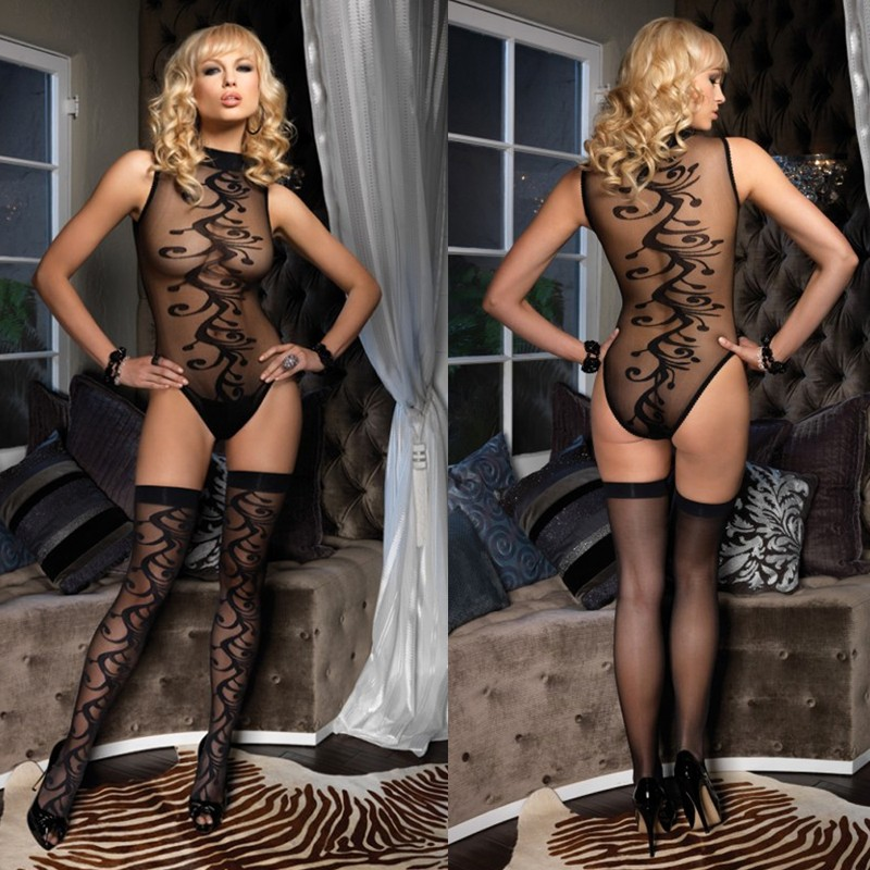 2pc Swirl Motif Bodysuit w/Snap & Matching Stocking Set O/S Black