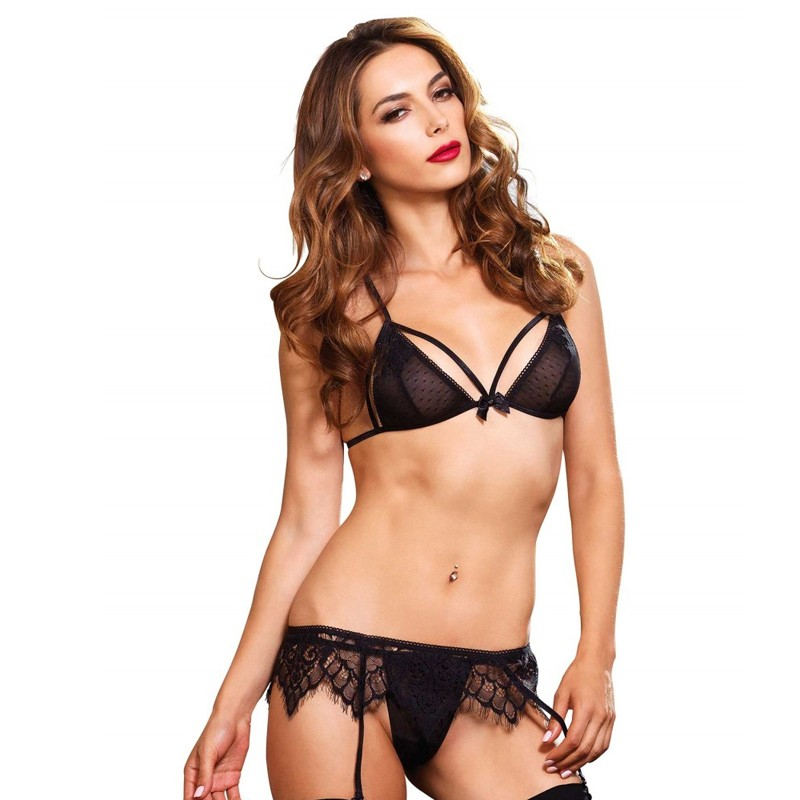3pc Swiss Dot Cage Strap Bra,G-String,Chantilly Lace Garter Belt Sml/Med Black