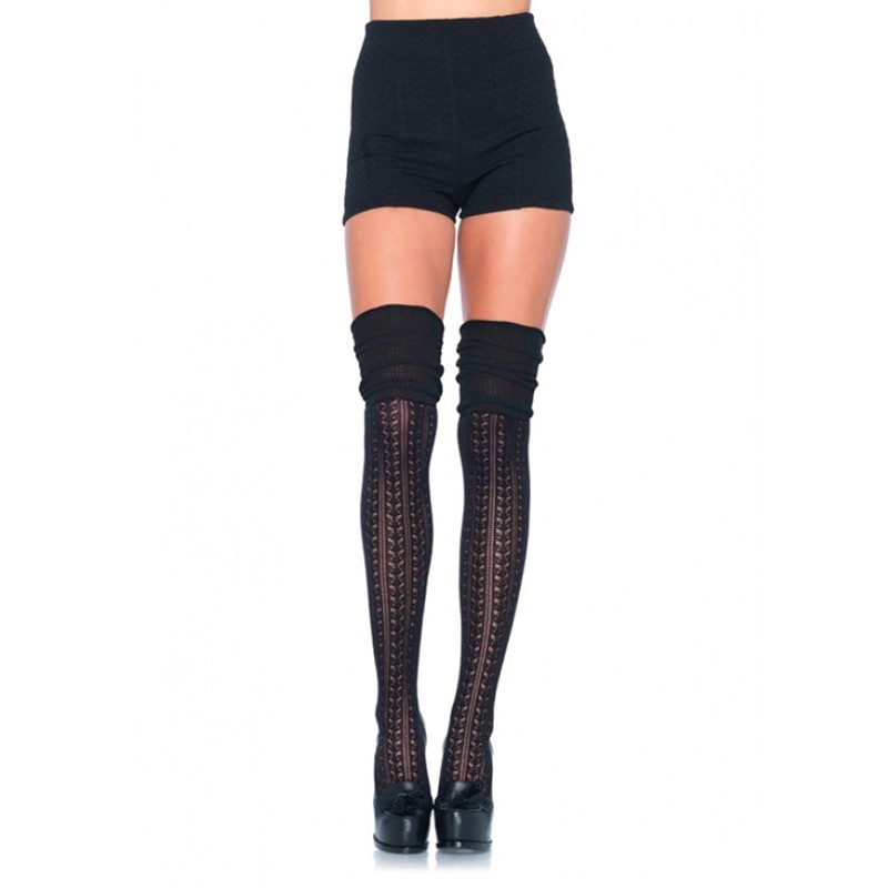 Acrylic Pointelle Over The Knee Scrunch Sock O/S Black