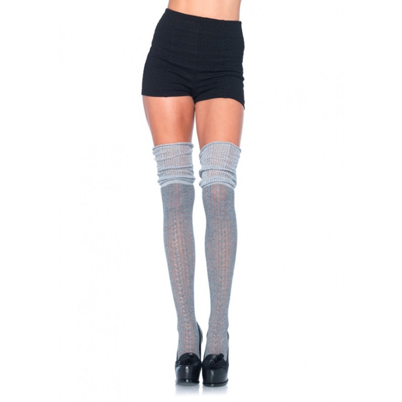 Acrylic Pointelle Over The Knee Scrunch Sock O/S Grey