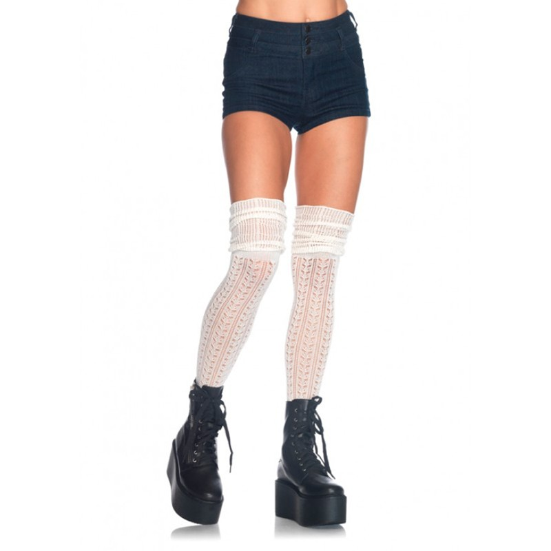 Acrylic Pointelle Over The Knee Scrunch Sock O/S Ivory
