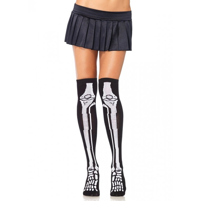 Acrylic Skeleton Over The Knee Socks O/S Black/White