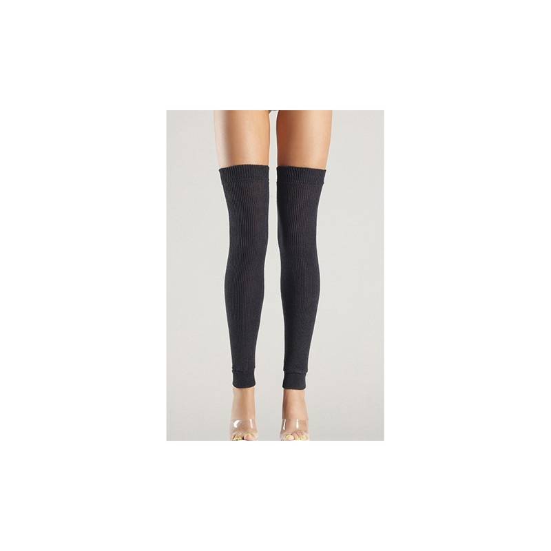 Acrylic Thigh High Leg Warmer Black O/S
