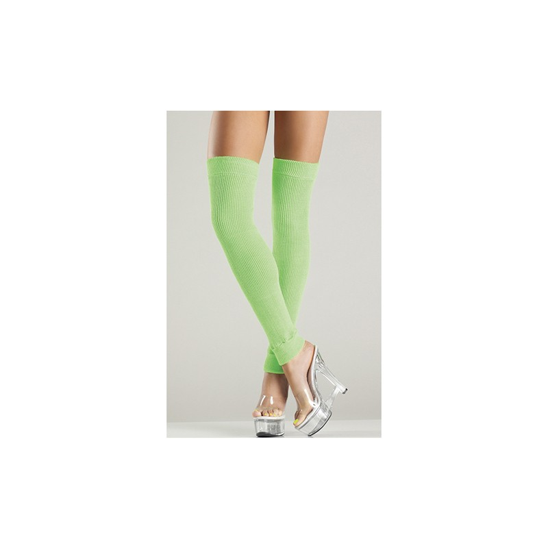 Acrylic Thigh High Leg Warmer Green O/S