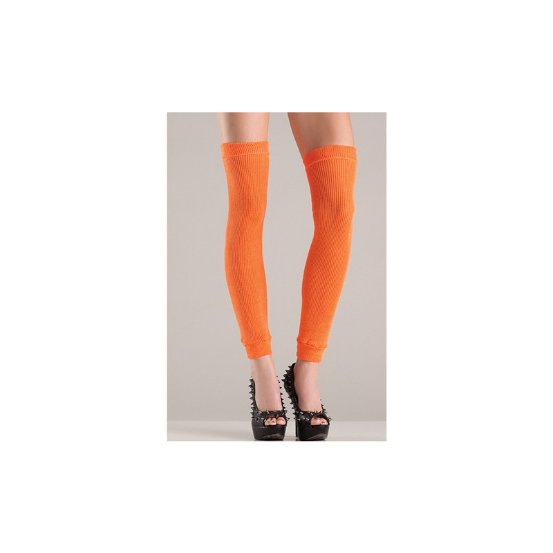 Acrylic Thigh High Leg Warmer Orange O/S