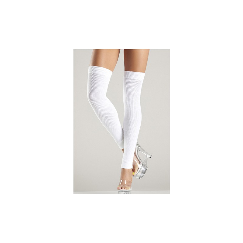Acrylic Thigh High Leg Warmer White O/S