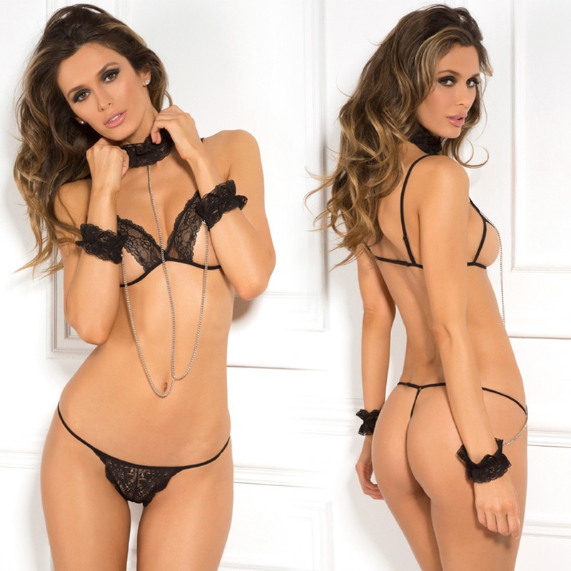 After Midnight 3pc Cuffed Chaos Bra Set Black S/M