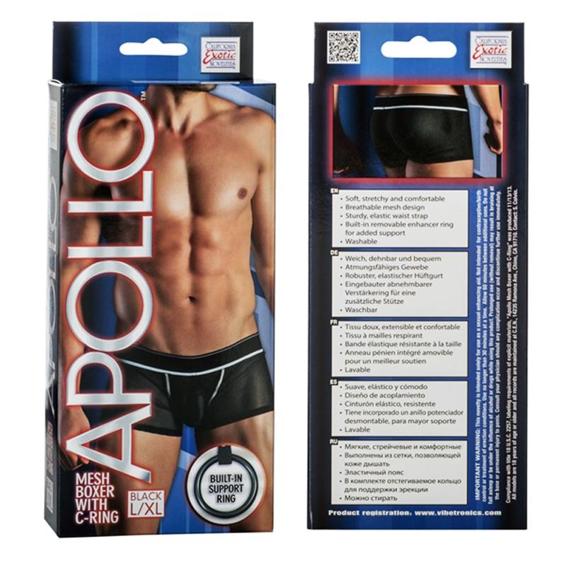 Apollo Mesh Boxer with C-Ring - Black L/XL