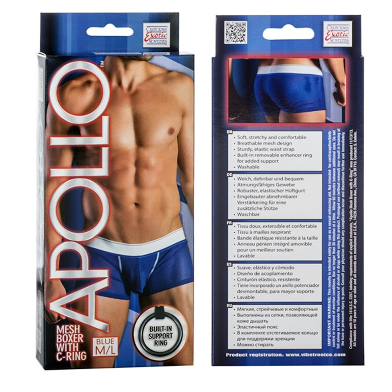 Apollo Mesh Boxer with C-Ring - Blue M/L