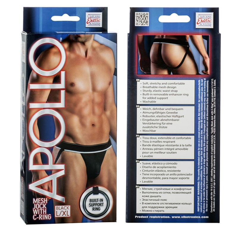 Apollo Mesh Jock with C-Ring - Black L/XL