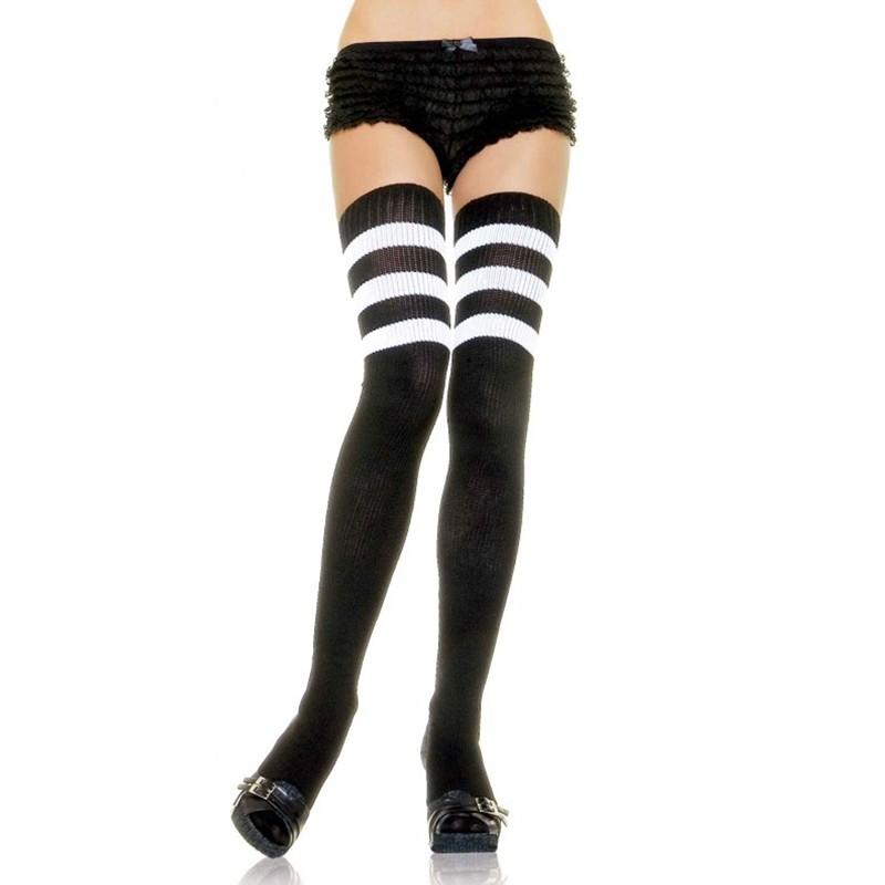 Athlete Thigh Hi w/3 Stripe Top O/S Black/White