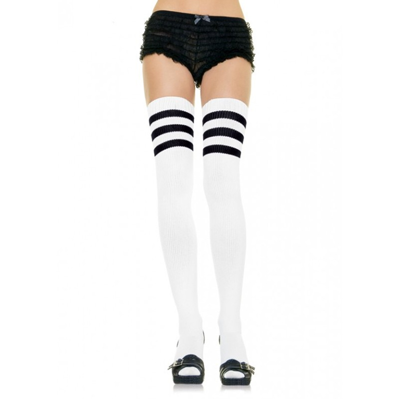 Athlete Thigh Hi w/3 Stripe Top O/S White/Black