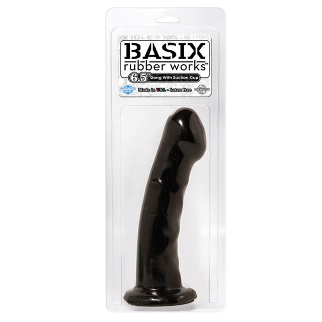 Basix Rubber Works - 6.5in. Dong with Suction Cup Black