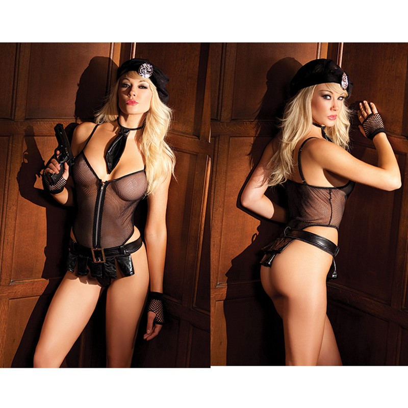 BeWicked Bedroom Cop 5pc M/L Zippered Mesh Romper, Mesh Hat, Tie, Skirt w/Buckle, And Badge. (Gun Not Included. Bw3007 Black Gloves Sold Separately)