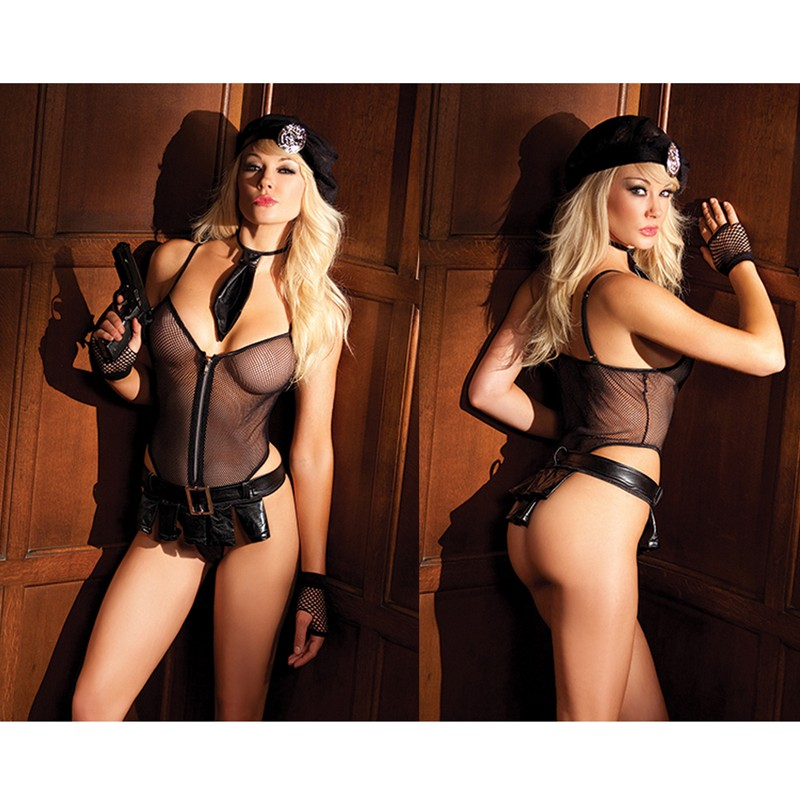 BeWicked Bedroom Cop 5pc S/M Zippered Mesh Romper, Mesh Hat, Tie, Skirt w/Buckle, And Badge. (Gun Not Included. Bw3007 Black Gloves Sold Separately)