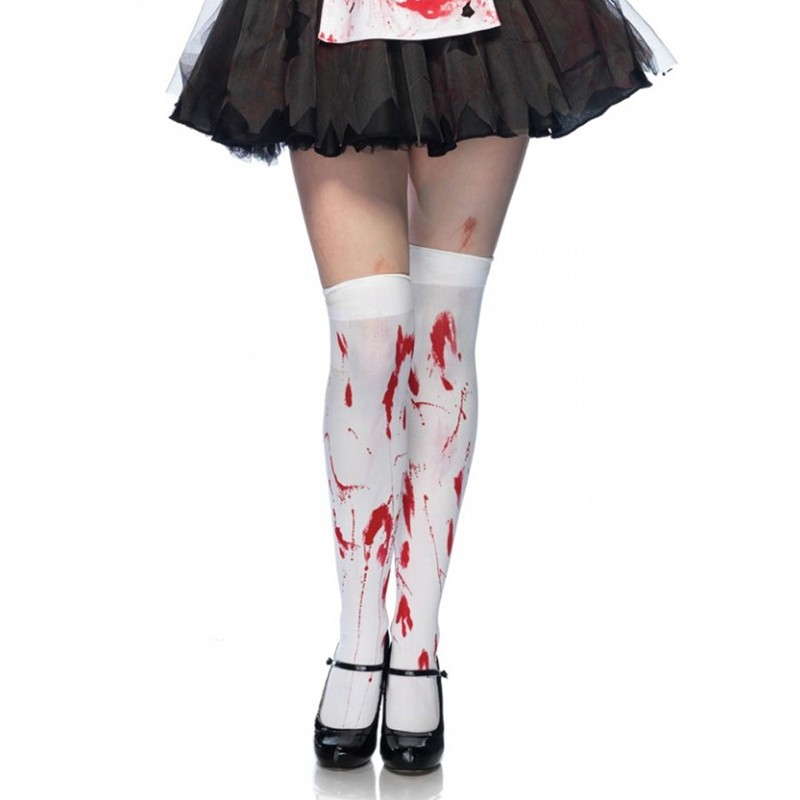 Bloody Zombie Thigh Highs O/S White/Red
