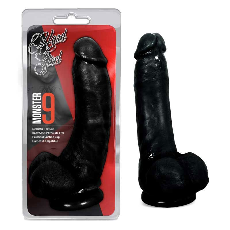 Blush Hard Steel Monster 9in. Dong With Suction Cup & Balls (Black)