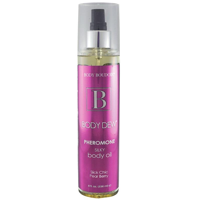 Body Dew, Silky Body Oil w/Pheromones, Slick Chic Pearberry, 8 fl oz, Mist Bottle