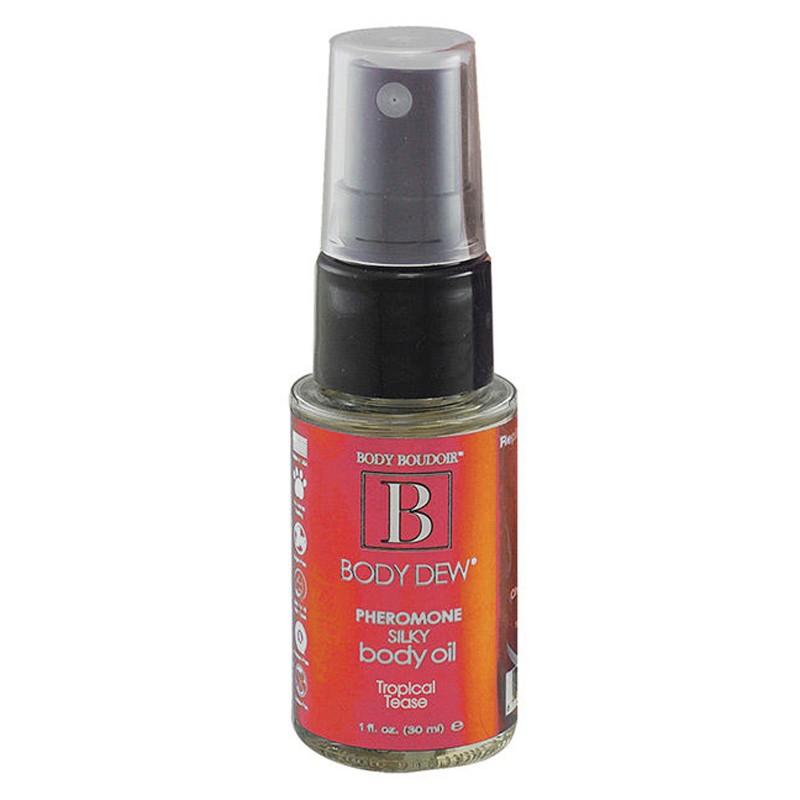 Body Dew, Silky Body Oil w/Pheromones, Tropical Tease, 1 fl oz, Mist Bottle
