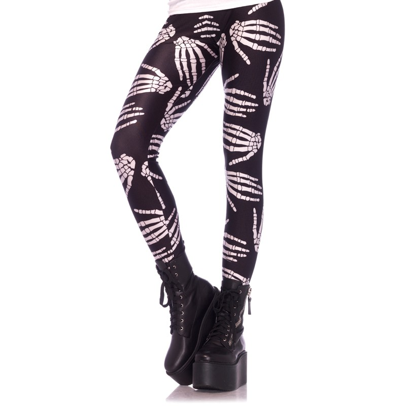 Boney Hands Skeleton Print Legging Large Black/White