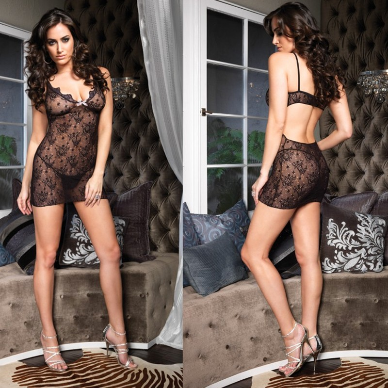 Boudoir Rose Lace Mini Dress w/Polka Dot Bow & Cut Out Back O/S Black