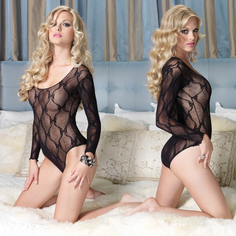 Bow Lace Long Sleeved Teddy O/S Black