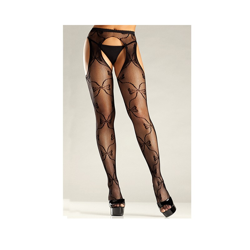 Bow Lace Suspender Pantyhose O/S Black