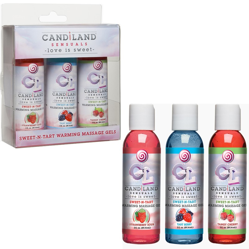 Candiland Sweet-N-Tart Warming Massage Gel - 3 Pak- 2oz. Strawberry Sour, Tart Berry, Tangy Cherry