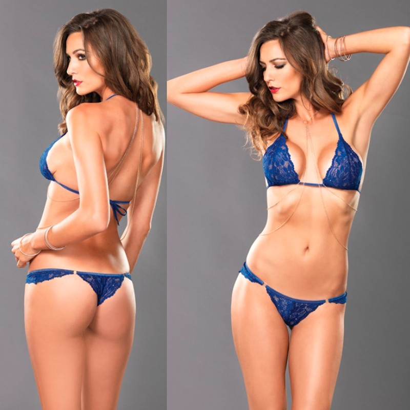 Celestial Set,Lace Bra,Thong,And Body Chain Sml/Med Blue 3pc