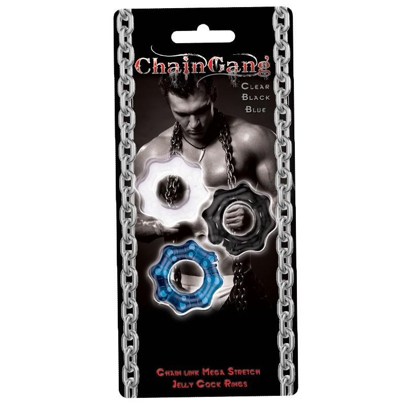 Chain Gang Cockrings 3pk (Clr,Blue,Blk)