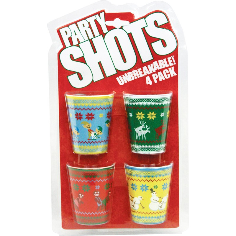 Christmas Characters 4pc Plastic Shot Glass Set
