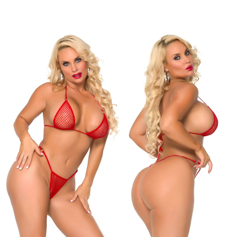 Cocolicious Nice Set Fishnet Bikini Set Red O/S