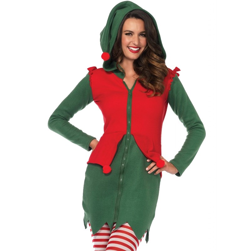 Cozy Elf,Fleece Dress With Cute Elf Hood And Pom Pom Accents Green/Red Large