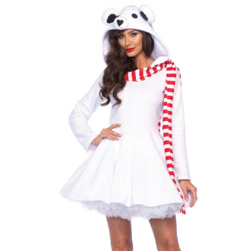Cozy Polar Bear,Zipper Front Dress W/Bear Hood Attached Striped Scarf Med White