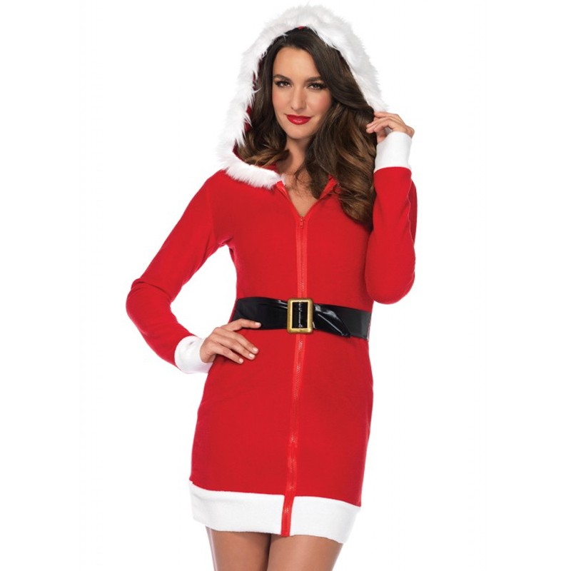 Cozy Santa,Fleece Dress W/Belt Accent And Fur Trimmed Hood Red/White Large