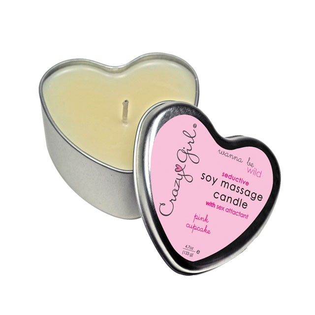 Crazy Girl Wanna Be Wild, Seductive Soy Massage Heart Candle w/ Pheromones, Pink Cupcake,  4.7 Oz. Net Wt., Tin
