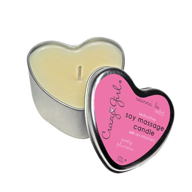 Crazy Girl Wanna Be Wild, Seductive Soy Massage Heart Candle w/ Pheromones, Plumeria,  4.7 Oz. Net Wt., Tin