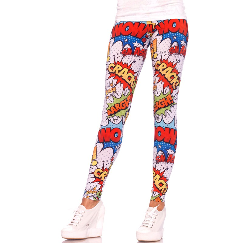 Crime Fighter Comic Exclamation Print Leggings Medium Multicolor