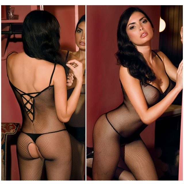 Criss X Bk Strap Bodystocking One-Size, Queen Size
