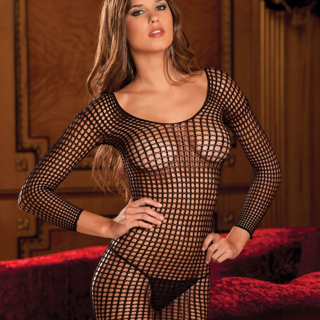 Crochet Net Long Sleeve Dress