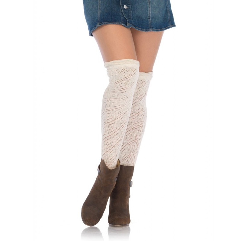 Crocheted Over The Knee Socks W/Scalloped Ruffle Top Cream O/S