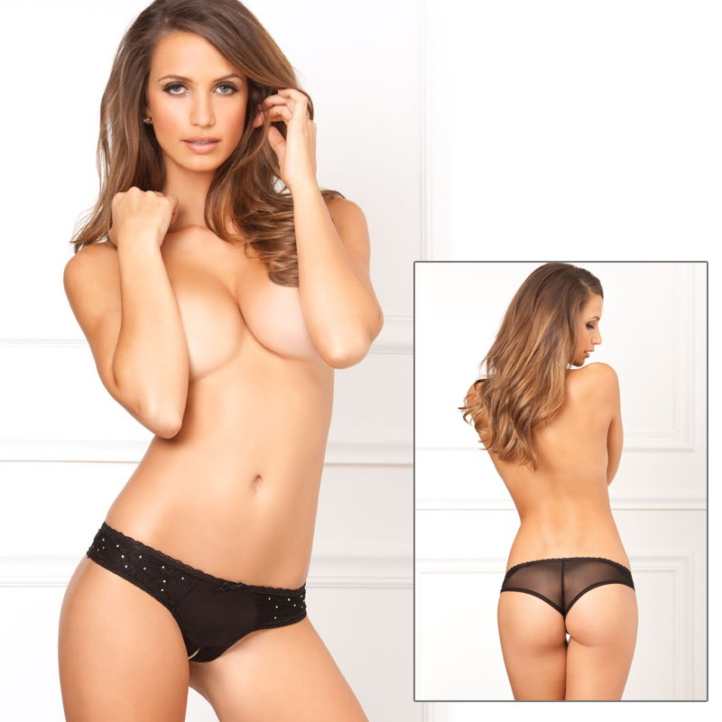 Crotchless Diamond & Lace Panty Blk M/L