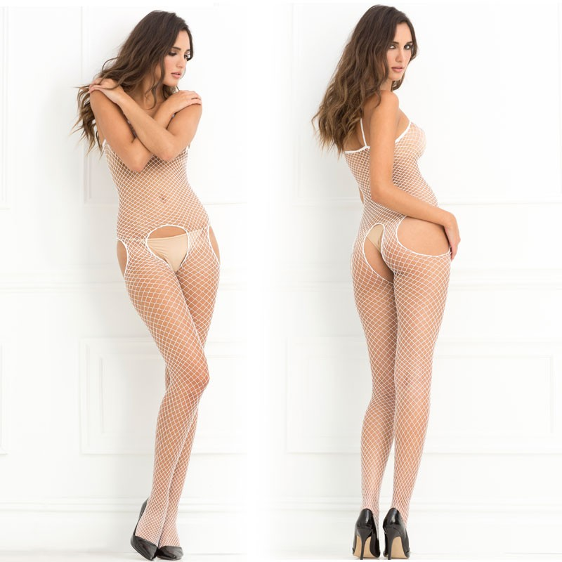 Crotchless Industrial Net Suspender Bodystocking White